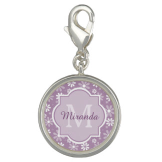 Girly Monogram Light Purple Daisy Flowers and Name Photo Charm