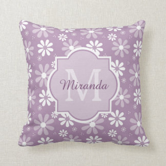 Girly Monogram Light Purple Daisy Flowers and Name Throw Pillow