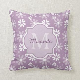 Girly Monogram Light Purple Daisy Flowers and Name Throw Pillows
