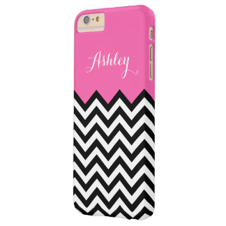 Girly Monogram Name - Modern Pink Chevron Pattern Barely There iPhone 6 Plus Case