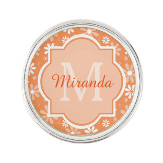 Girly Monogram Orange Daisy Flowers With Name Lapel Pin