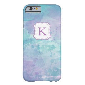 Girly Monogram Pastel Watercolor background Barely There iPhone 6 Case
