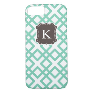 Girly Monogram Pastel Weave Design, Mint Chocolate iPhone 7 Case