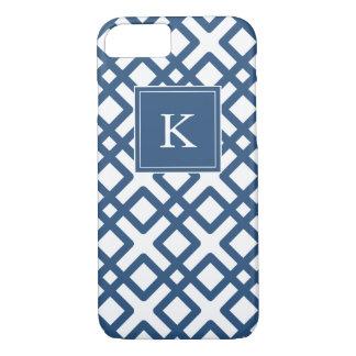 Girly Monogram Pastel Weave Design, Navy Blue iPhone 7 Case