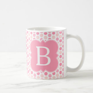 Girly Monogram Pink Polka Dots Basic White Mug