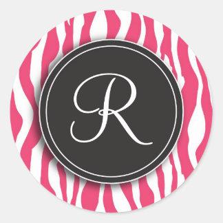 Girly Monogram Pink Zebra Print Stickers