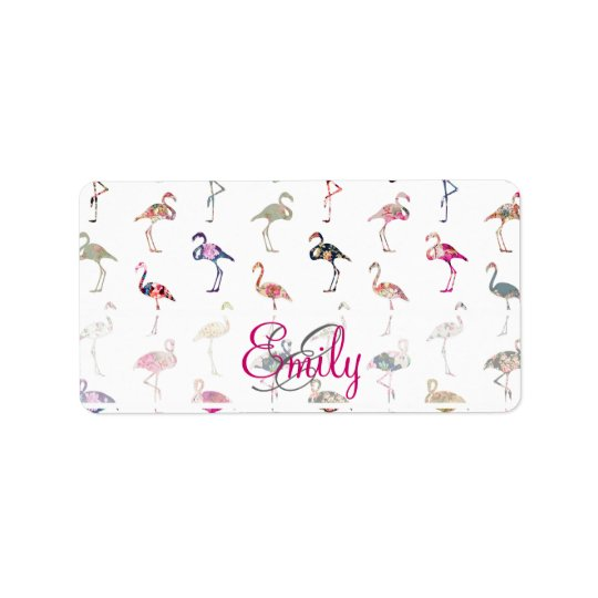 Girly Monogram Retro Floral Flamingos Pattern