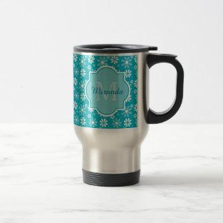 Girly Monogram Turquoise Daisy Flowers With Name Travel Mug