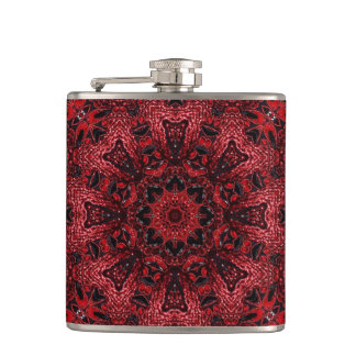 girly Moroccan Ethnic Pattern burgundy bohemian Hip Flask