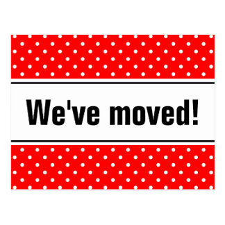 Girly moving postcards | red and white polka dots