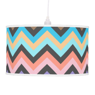 Girly Multicolor Chevron Pattern Hanging Pendant Lamps