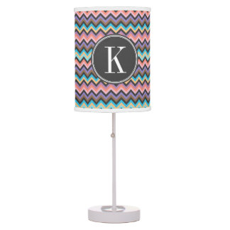 Girly Multicolor Chevron with Charcoal Monogram Desk Lamp