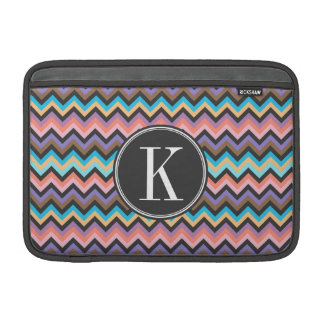 Girly Multicolor Chevron with Charcoal Monogram MacBook Sleeve