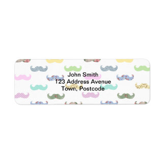 Girly mustache pattern return address label