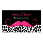 Girly Mustache Pink and Black Leopard Hair Salon Business Card Templates