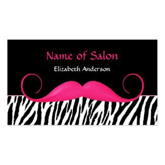 Girly Mustache Pink and Black Zebra Hair Salon Business Card