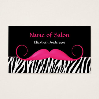 Girly Mustache Pink and Black Zebra Hair Salon Business Card