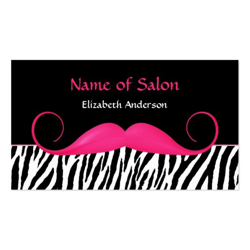 Girly Mustache Pink and Black Zebra Hair Salon Business Card Templates
