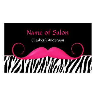 Girly Mustache Pink and Black Zebra Hair Salon Pack Of Standard Business Cards