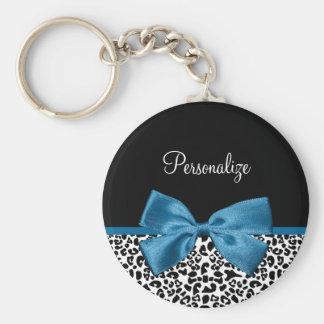 Girly Name Leopard Print Pretty Cobalt Blue Ribbon Keychain
