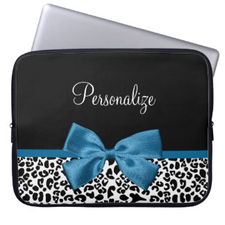 Girly Name Leopard Print Pretty Cobalt Blue Ribbon Laptop Sleeve