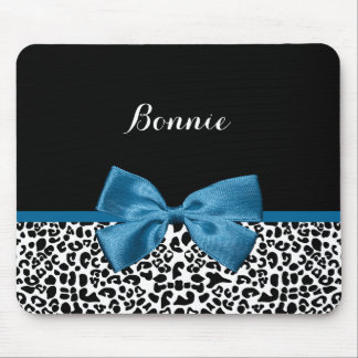 Girly Name Leopard Print Pretty Cobalt Blue Ribbon Mouse Pad