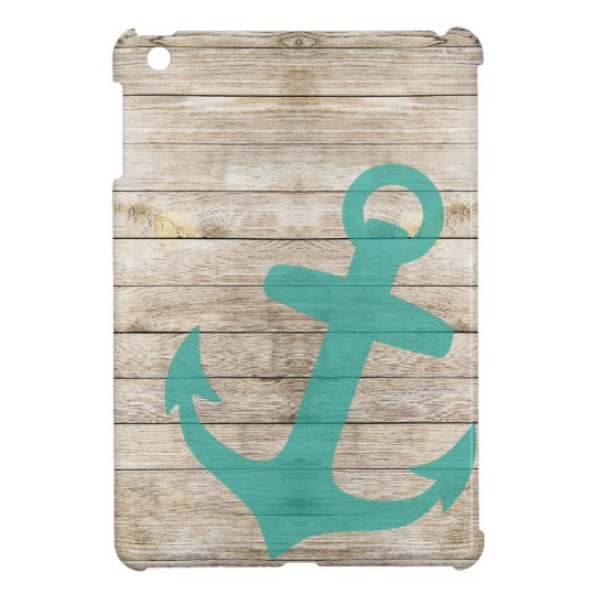 Girly Nautical Anchor and Wood Look Case For The iPad Mini