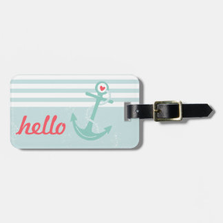 Girly Nautical Anchor Personalized Luggage Tag