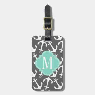Girly Nautical Anchors Charcoal Aqua Personalized Luggage Tag