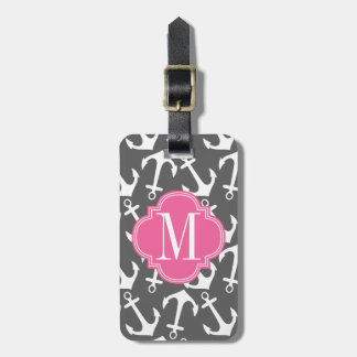 Girly Nautical Anchors Charcoal Pink Personalized Luggage Tag