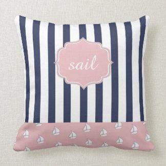 girly nautical Throw Pillow