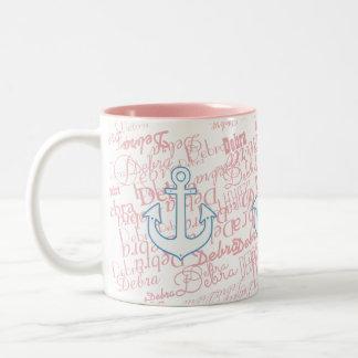 girly, nautical & with custom name on pink Two-Tone coffee mug