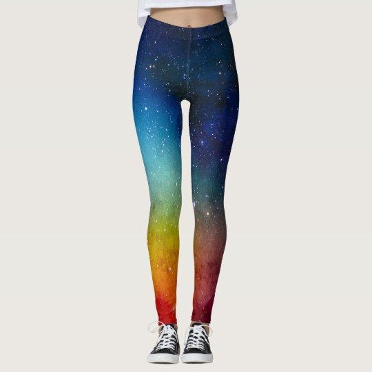 Girly Navy Blue Nebula Galaxy Space Stars Leggings
