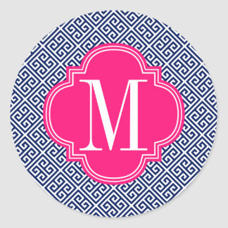 Girly Navy & Pink Greek Key Pattern Custom Classic Round Sticker