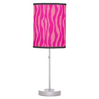 Girly Neon Hot Pink Zebra Pattern Stripes Table Lamp