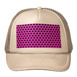Girly Neon Pink Black Polka Dots Floral Pattern Trucker Hat