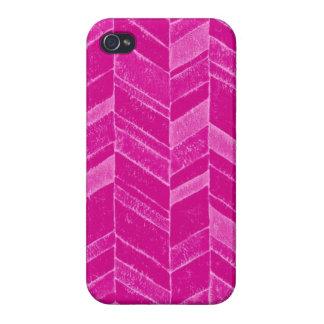 Girly Neon Pink Chevron iPhone 4/4S Covers