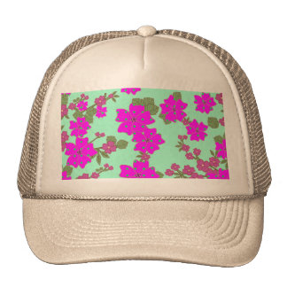 Girly Neon Pink Green Polka Dots Floral Pattern Trucker Hat