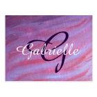 Girly Office | Pink Purple Zebra Feminine Pastel Postcard