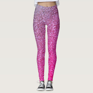 Girly Ombre Pink & Purple Glitter Leggings