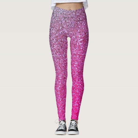 Girly Ombre Pink & Purple Glitter Leggings