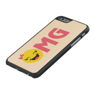 Girly OMG Emoji Carved Maple iPhone 6 Case