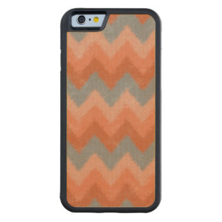Girly Orange and Gray Bohemian Chevron Pattern Carved Maple iPhone 6 Bumper Case