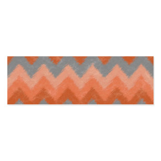 Girly Orange and Gray Bohemian Chevron Pattern Mini Business Card