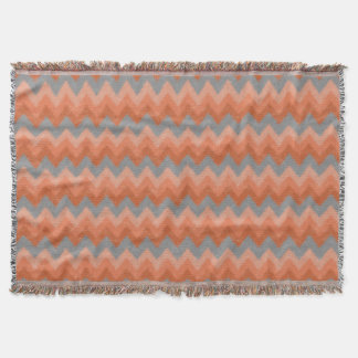 Girly Orange and Gray Bohemian Chevron Pattern Throw Blanket