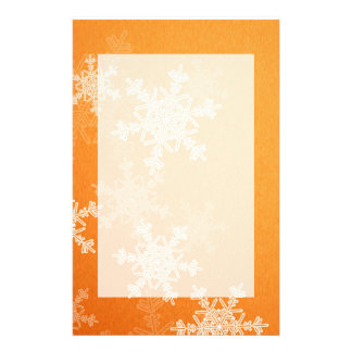 Girly orange and white Christmas snowflakes Stationery
