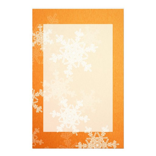Girly orange and white Christmas snowflakes Stationery