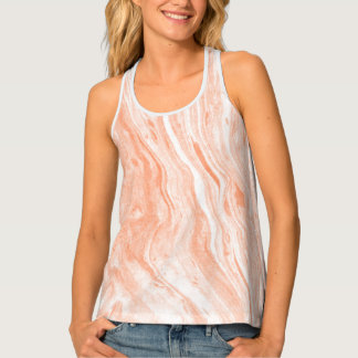 Girly Orange And White Marble Stone Tank Top