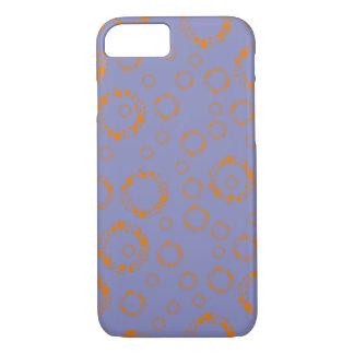 girly orange blue circle squares pattern dizzy art iPhone 7 case