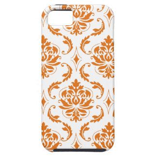 Girly Orange White Vintage Damask Pattern iPhone 5 Covers